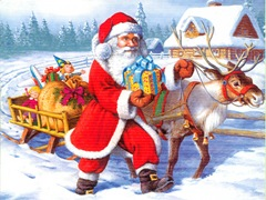 Santa Claus Delivering Gifts with Reindeer