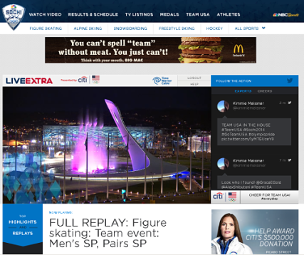 Screenshot of NBCOlympics Website for Full Replay